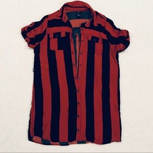 Striped Red and Navy Shirt Dress